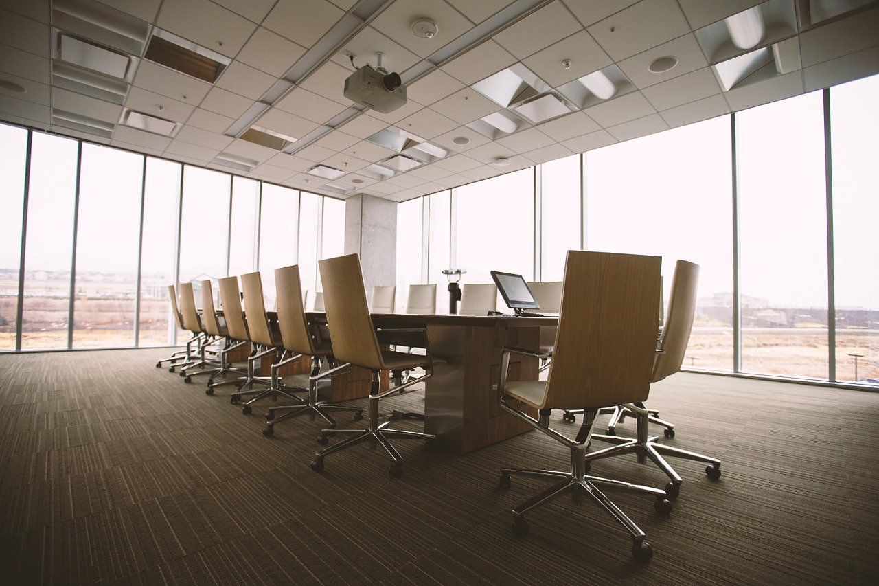 conference room, table, office